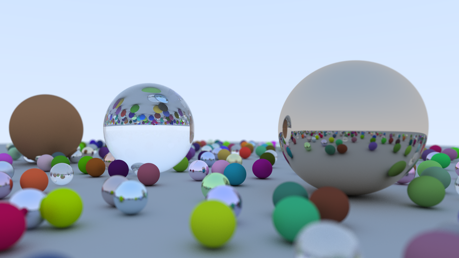 The final result. This scene contains three large spheres with different materials—lambertian, dielectric and metal. They are surrounded by a lot of little spheres with various colors and materials.